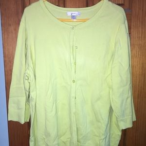 CJ Banks button down sweater in citrus green/yell